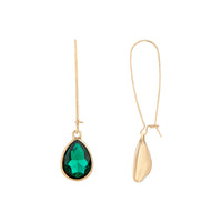 Emerald Gold Diamante Fish Hook Earring