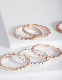 Rose Gold Silver Textured Ring Pack