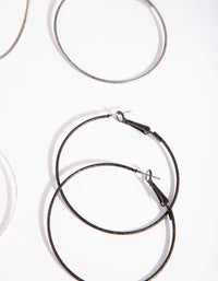 Silver Black Mixed Hoop Earring 3 Pack - link has visual effect only