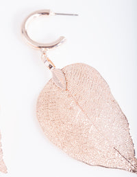 Rose Gold Leaf Hoop Earring - link has visual effect only