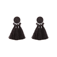 Black Classic Stud Tassel Earring - link has visual effect only