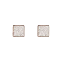 Rhodium Glitter Inlay Square Earring