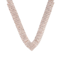 Rose Gold Diamante Necklace Earring Jewellery Set