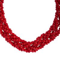 Red Faceted Bead Plait Necklace - link has visual effect only