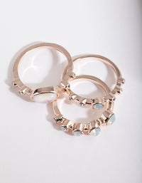 Rose Gold Reflective Stone Ring Stack