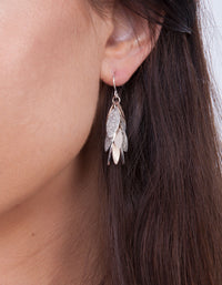Silver Rose Gold Glitter Leaf Drop Earring - link has visual effect only