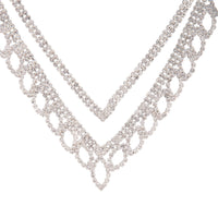 Silver Diamante Leaf Earring Necklace Set