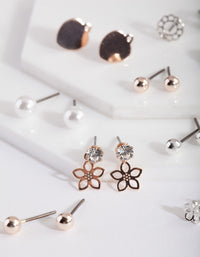 Mixed Metal Butterfly Stud Earring Pack