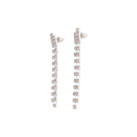 Silver Long Double Row Diamante Drop Earring - link has visual effect only