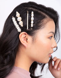 Gold Multi Pearl Diamante Hair Clip Pack - link has visual effect only