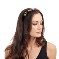 Fuzzy Multi-Coloured Jewel Headband - link has visual effect only