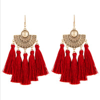 Burgundy Antique Gold Etched Tassel Earring - link has visual effect only