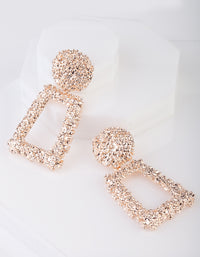 Textured Rose Gold Drop Earring