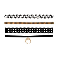 Black Gold Crescent Diamante Cut-Out Choker Pack - link has visual effect only