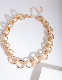 Gold Crater Link Necklace