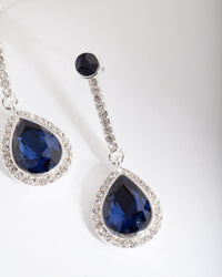 Silver Blue Gem Teardrop Earring