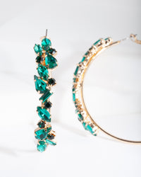 Green Cluster Hoop Earrings - link has visual effect only