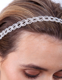 Silver Diamante Loop Stretch Headband - link has visual effect only