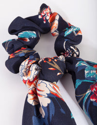 Navy Floral Scrunchie Scarf - link has visual effect only
