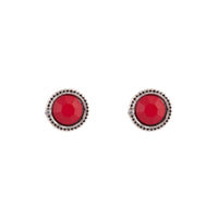 Red Round Facet Stud Earring - link has visual effect only