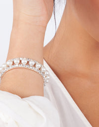 Pearl And Diamante Cupchain Stretch Bracelet