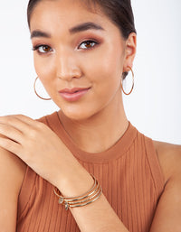 Gold Sleeper Round Hoop Earring 3 Pack - link has visual effect only