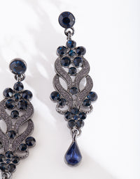 Gunmetal Blue Crystal Swirl Earring - link has visual effect only