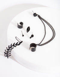 Black Chain Leaf Ear Stack - link has visual effect only