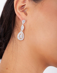 Silver Diamante Stone Set Cut-Out Earring