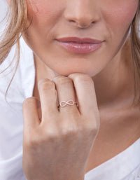 Rose Gold Cubic Zirconia Infinity Ring - link has visual effect only
