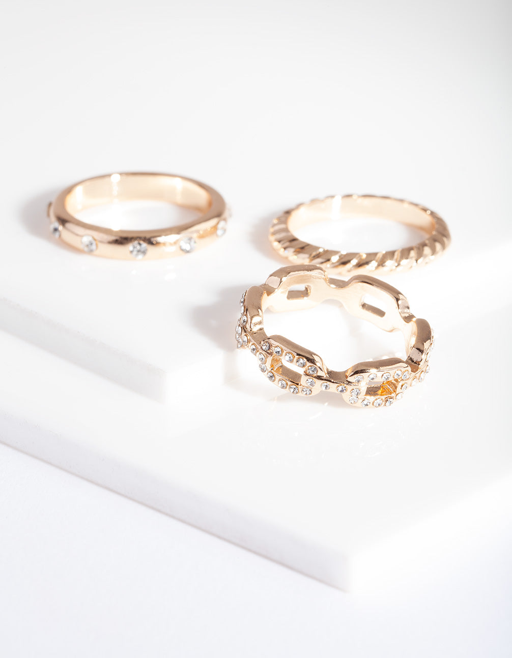 Gold Diamante Chain Ring 3 Pack