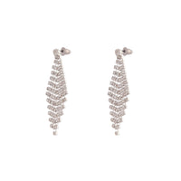 Rhodium Diamante Drop Tier Earring