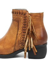 Load image into Gallery viewer, 【Quality】Hand-Made Real Leather Retro Flat Boots With Tassel-BelleChloe-o1o.store