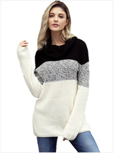 Load image into Gallery viewer, 【Quality】Contrast Color High Collar Long Sleeve Pullover Large size-BelleChloe-o1o.store