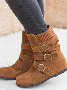 Winter Female Flat Large Size Thick Cotton Boots-BelleChloe-o1o.store
