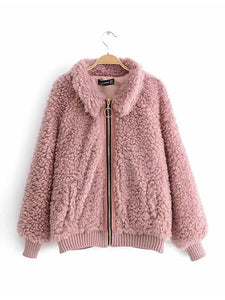 【Quality】Women's Thick Fluffy Fleece High Street Zipper Jacket-BelleChloe-o1o.store