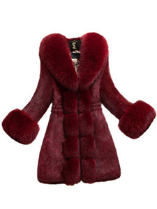 Fur Collar Artificial Fur Thick Coat-BelleChloe-o1o.store