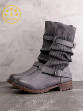 Load image into Gallery viewer, [Quality] Knitted Fabric Attached Boots Warm Flat Boots-BelleChloe-o1o.store