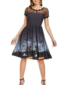 Halloween Vintage Lace Insert Pin Up Dress-BelleChloe-o1o.store