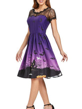 Load image into Gallery viewer, Halloween Vintage Lace Insert Pin Up Dress-BelleChloe-o1o.store