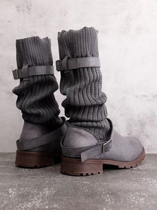 [Quality] Knitted Fabric Attached Boots Warm Flat Boots-BelleChloe-o1o.store