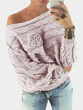 Load image into Gallery viewer, Flower Decoration Pullover Boat Neck Bat Sleeves Sweater-BelleChloe-o1o.store