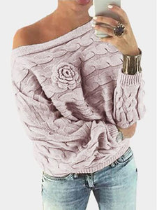Flower Decoration Pullover Boat Neck Bat Sleeves Sweater-BelleChloe-o1o.store