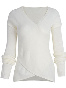 Cross Wrap Front V-Neck Long Sleeve Knitted Casual Sweater-BelleChloe-o1o.store