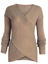 Load image into Gallery viewer, Cross Wrap Front V-Neck Long Sleeve Knitted Casual Sweater-BelleChloe-o1o.store
