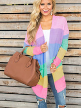 Load image into Gallery viewer, Rainbow Color Block Pockets Knitted Cardigan-o1o.store-o1o.store