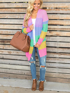 Rainbow Color Block Pockets Knitted Cardigan-o1o.store-o1o.store