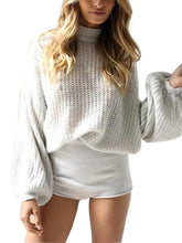Load image into Gallery viewer, Solid Color Puff Sleeve Ribbed Knitted Short Pullover Sweater-BelleChloe-o1o.store