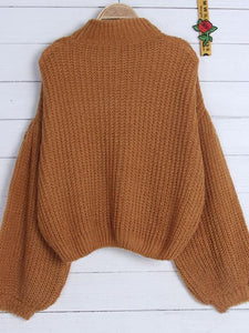 Solid Color Puff Sleeve Ribbed Knitted Short Pullover Sweater-BelleChloe-o1o.store
