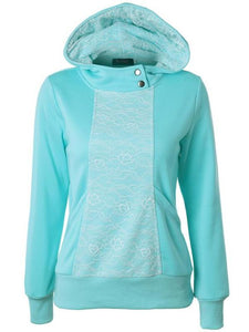 Embroidered Lace Hooded Long Sleeve Casual Sweatshirts-BelleChloe-o1o.store